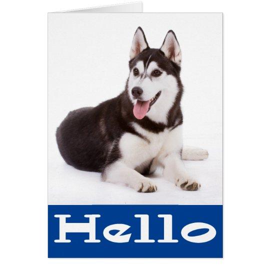 Hello Siberian Husky Puppy Dog Blank Note Card