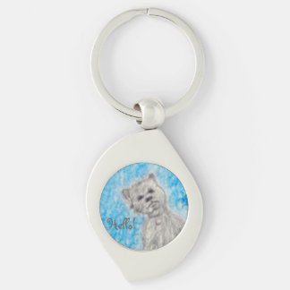 Hello! Silver-Colored Swirl Key Ring