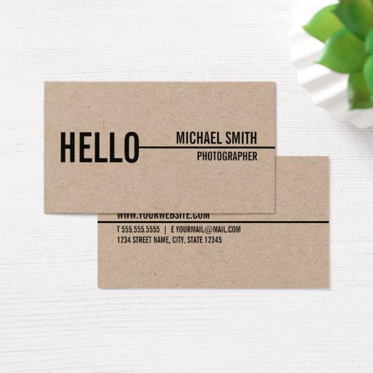 """Hello"" Simple Modern Minimalist Kraft Paper Business Card"