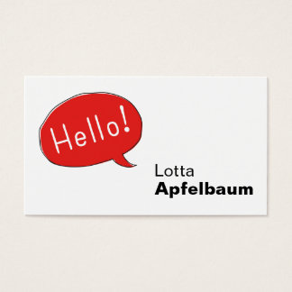 Hello! Speech bubble Business Card