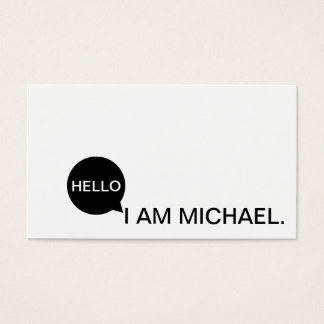 Hello Speech Bubble | Casual Modern Black & White Business Card