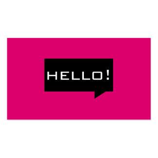 Hello speech bubble pink standard business cards