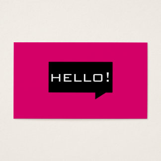 Hello speech bubble pink standard business cards