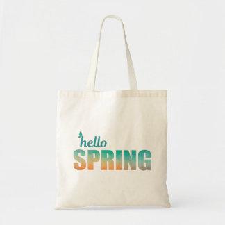 Hello Spring color geometric tote bag