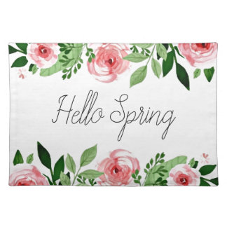 Hello Spring Pink Watercolor Roses Pretty Placemat