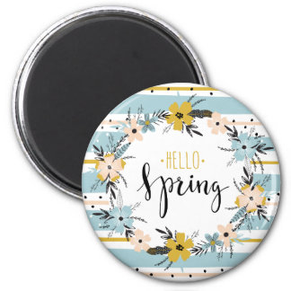 Hello Spring. Spring Flowers Easter Gift Magnets