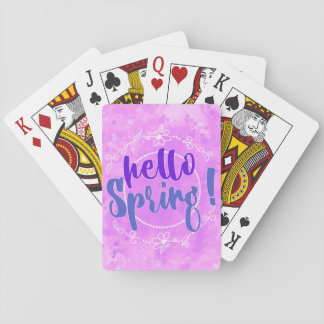 Hello Spring Watercolor Playing Card