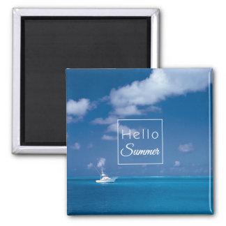 Hello Summer Blue Caribbean Horizon Sea Relaxing Square Magnet