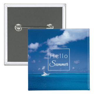 Hello Summer Blue Caribbean Sea Beach Typography 15 Cm Square Badge