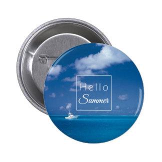 Hello Summer Blue Caribbean Sea Beach Typography 6 Cm Round Badge