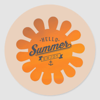 Hello Summer Enjoy, Cool Summer Quote Stickers