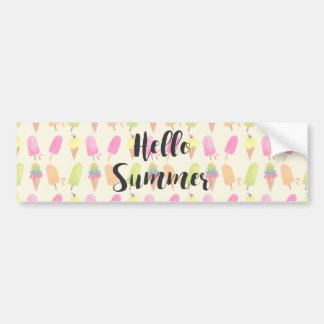 Hello Summer Popsicles and Ice Cream Bumper Sticker
