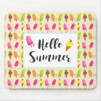 Hello Summer Popsicles and Ice Cream Mouse Mat