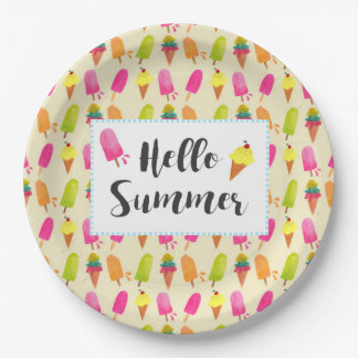 Hello Summer Popsicles and Ice Cream Paper Plate