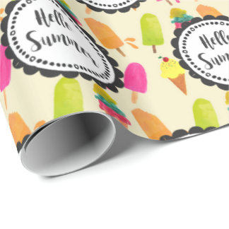 Hello Summer Popsicles and Ice Cream Wrapping Paper