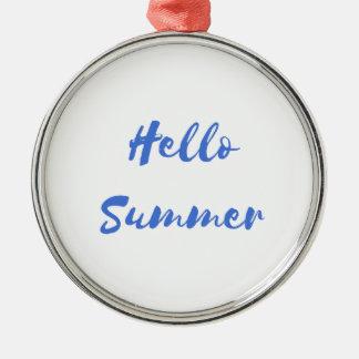 hello summer Silver-Colored round decoration