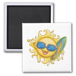 Hello Summer Square Magnet