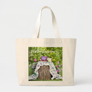 Hello Summer Tea and Plums in the Garden Large Tote Bag