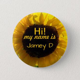Hello Sunflower Sunshine Nametag 6 Cm Round Badge