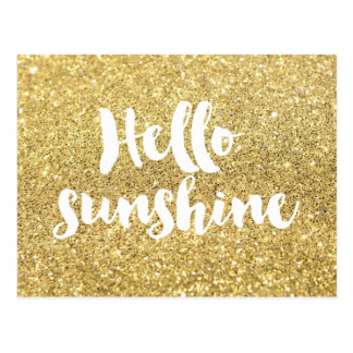 hello sunshine calligraphy on gold glitter effect postcard