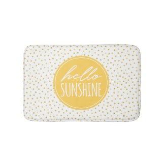 Hello Sunshine Dots Pattern Yellow Faux Gold Bath Mat