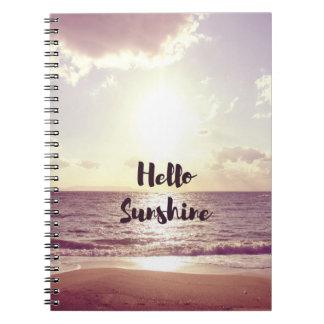 """Hello Sunshine"" Photo Quote Spiral Notebooks"
