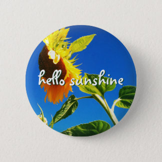 """Hello sunshine"" quote huge yellow sunflower photo 6 Cm Round Badge"