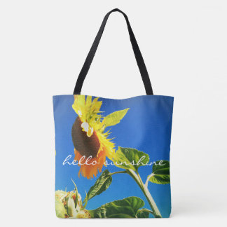"""""""Hello sunshine"""" quote yellow sunflower photo Tote Bag"""
