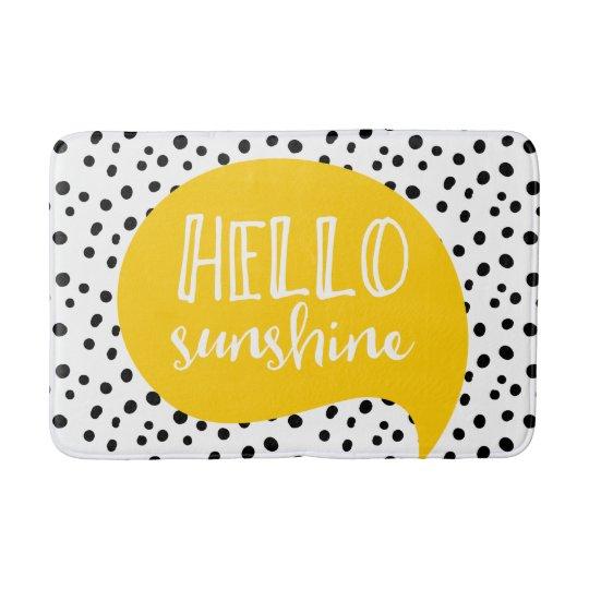 Hello sunshine spotty yellow bath mat