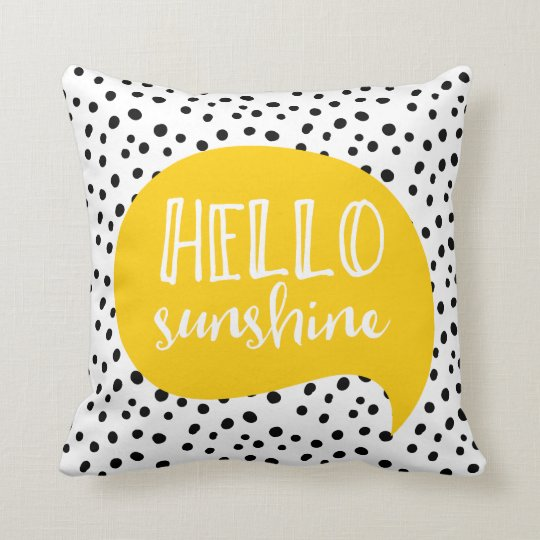 Hello Sunshine yellow polka dot spotty pillow