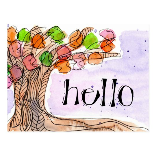 Hello & Thank You - Fun Leafy Tree