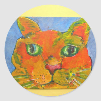 hello there cat round sticker
