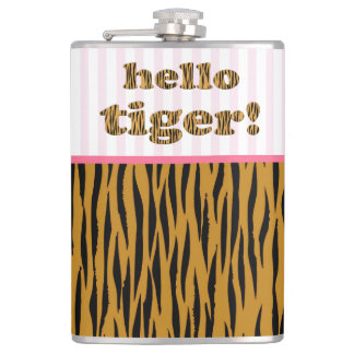 Hello Tiger!  | Pink Fun Quote Tigerprint Hip Flask