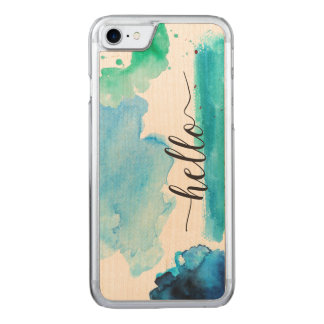 Hello Typography Blue Green Watercolor Abstract Carved iPhone 8/7 Case