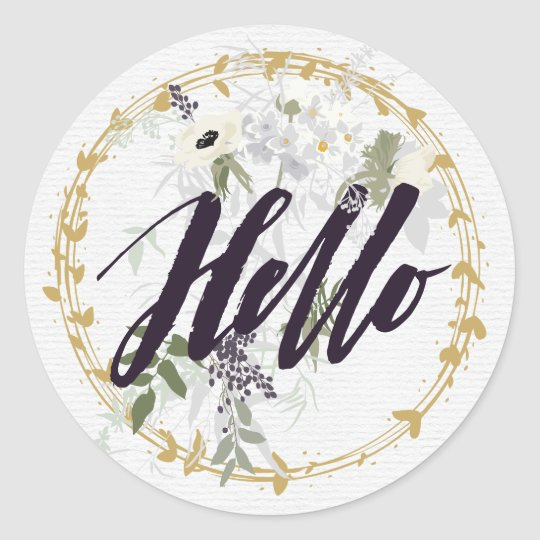 Hello Vintage Floral and Gold Watercolor Classic Round