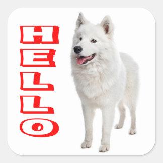 Hello White Samoyed Puppy Dog Sticker / Seal