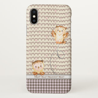 Hello? Whooo Is It? Cute Owls Personalized Funny iPhone X Case