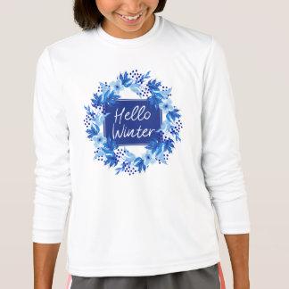Hello Winter Blue Flower Girl's T-Shirt