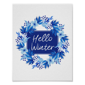 Hello Winter Blue Flower print A4 Watercolor