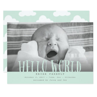 Hello world clouds-mint card