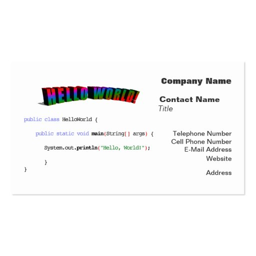 Hello World geek greeting Java Business Cards