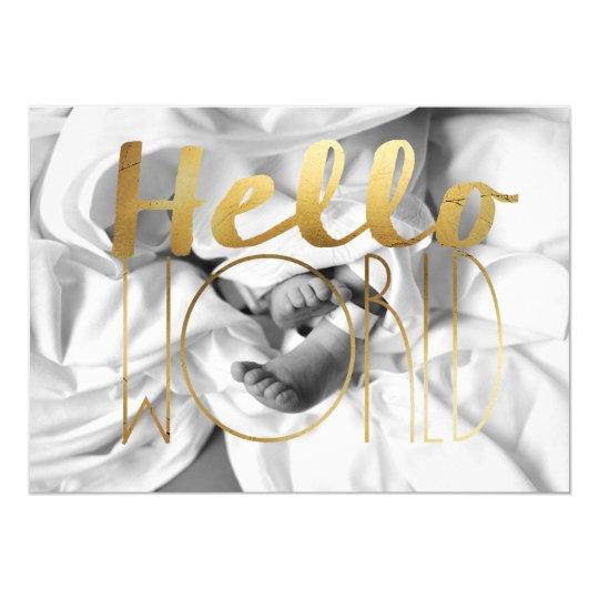 Hello World Gold Foil Baby Announcement | Photo