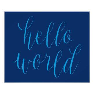Hello World Hand Lettering Design Poster Photo Art