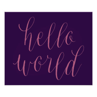Hello World Hand Lettering Design Poster Art Photo