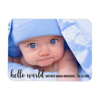 Hello World New Baby Modern Announcement Magnet