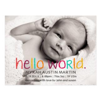 Hello World Photo Birth Announcement Postcard