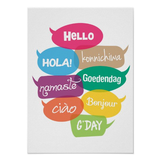 Hello world poster print in 8 languages