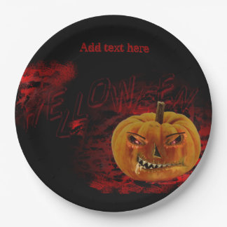 HELLoween in Red and Black Paper Plate