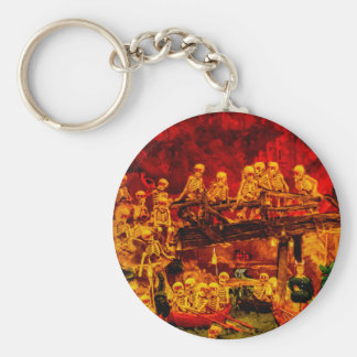 Hellsville Skeletons Vintage Terror Horror Hell Basic Round Button Key Ring