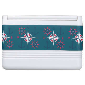 Helm Anchors & Compass Navy White Sky Blue Igloo Cooler